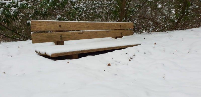 bank in de sneeuw